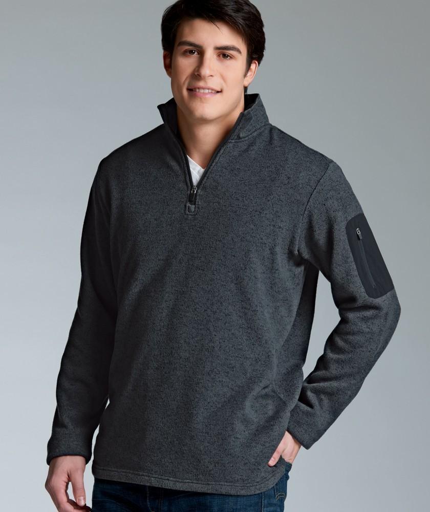 Men's Heathered Fleece Pullover with Woodland Academy Logo
