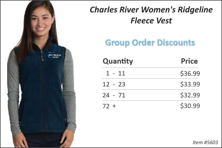 Charles River Women's Ridgeline Fleece Vest 5603
