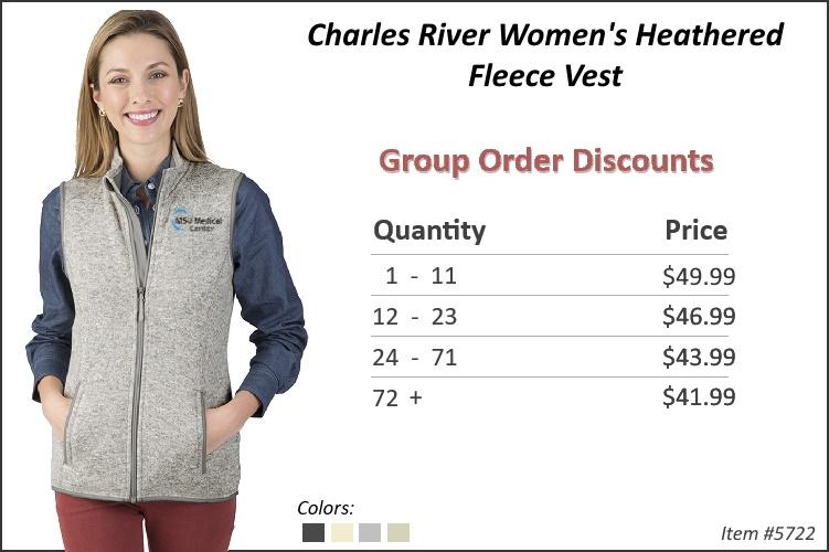 Charles River Women's Heathered Fleece Vest 5722