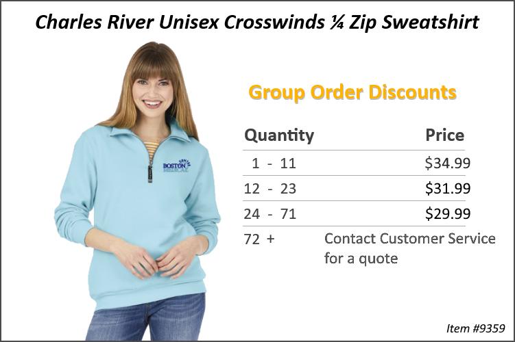 Charles River Unisex Croswinds 1/4 Zip Sweatshirt 9359