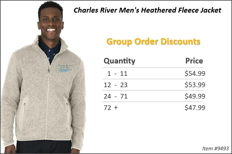 Charles River Men's Heathered Fleece jacket 9493