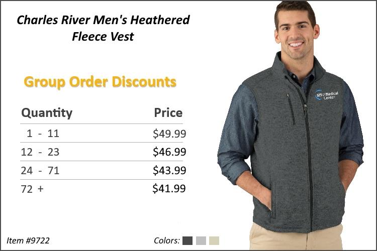 Charles River Men's Heathered Fleece Vest 9722