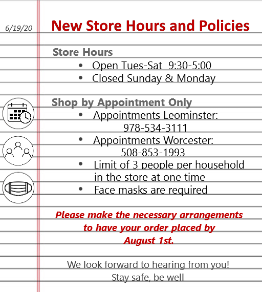 New Store Hours and Policies