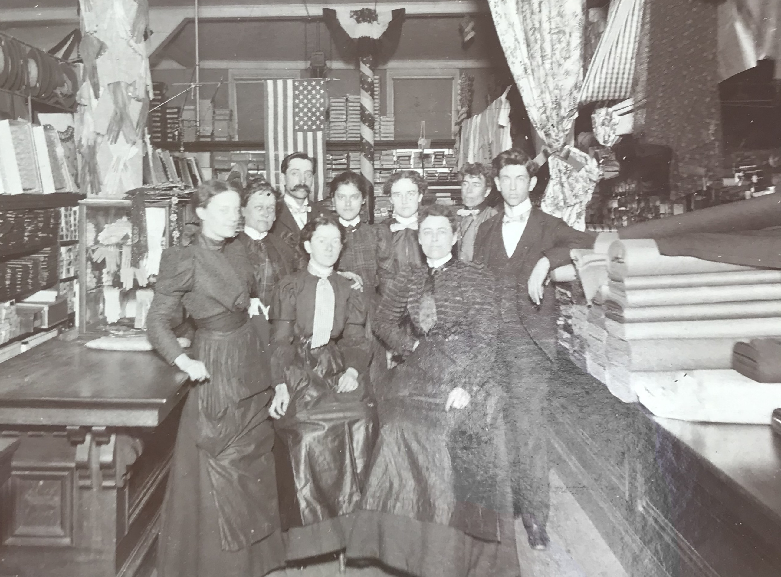 One of the first staff photos taken of the Howe and Stetson / William A. Allen Co. team, circa 1880's. Note 39 star flag in background
